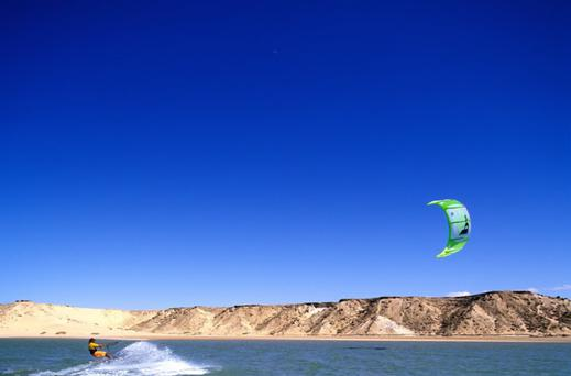 The power of nature: The conditions around the lagoon near Dakhla are perfect for kitesurfing and all sorts of water sports