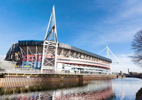Exterior of the Millenium Stadium in Cardiff, Wales, UK