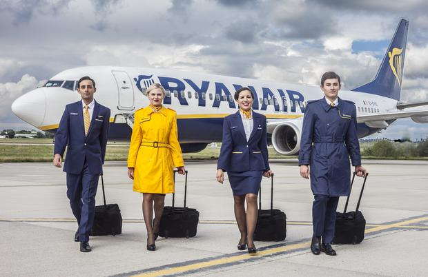 Ryanair cabin crew model the airline's new uniforms, by Irish designer Emma Collopy. Photo: Taine King