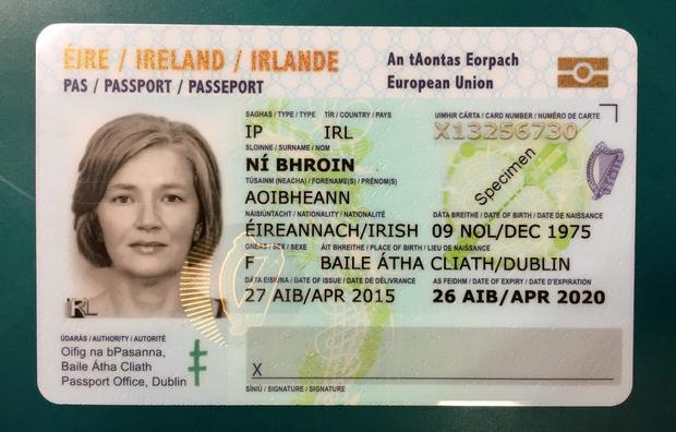 The new Irish Passport Card (sample).