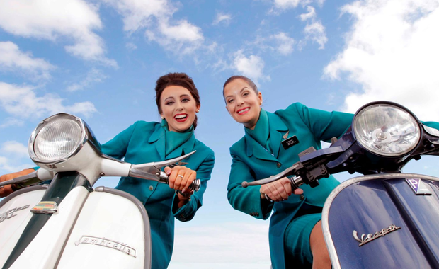 Aer Lingus cabin crewmembers Deborah McGuirk and Shannen McDonnell pictured on Sandymount Strand. Photo: Mark Stedman/Photocall Ireland