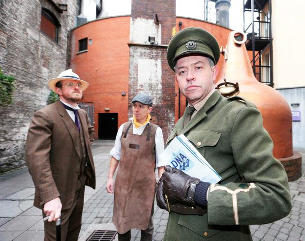Pictured at the launch of Dublin's Northside Attractions (DNA) Alliance at the Old Jameson Distillery were (l to r) Damian Devaney (James Joyce), Allan Keating from Jameson and Jim Roche (Padraic Pearse). Photo: Leon Farrell / Photocall Ireland