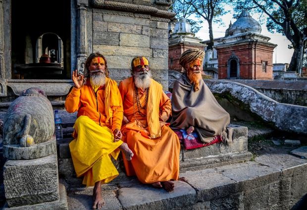 Sadhus (holy men) at Pashupatinath temple, Kathmandu. Photo: Mark Graham