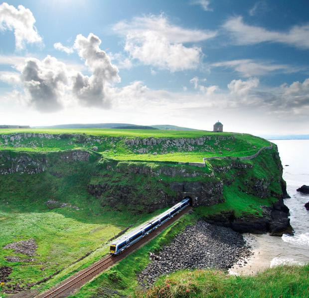 The Derry to Coleraine railway, with Mussenden Temple. Photo: Tourism  Northern Ireland