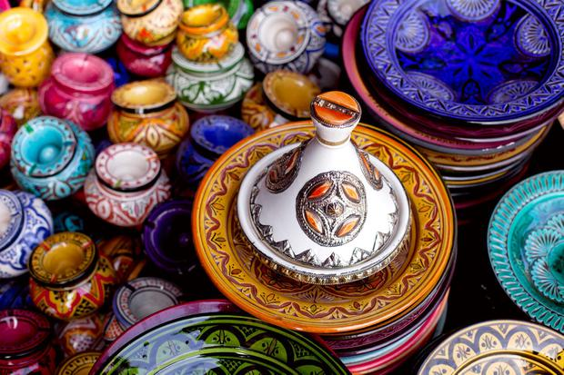 Tagine and traditional souvenirs in Marrakech, Morocco. Photo: Deposit