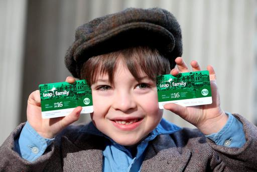 1916 meets 2016: Pictured launching the 10 Leap Family Card was Darragh McCormick, age 7. Picture Jason Clarke.