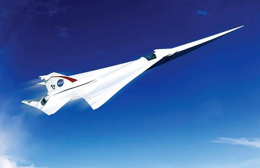 Artist concept of a possible Low Boom Flight Demonstration Quiet Supersonic Transport (QueSST) X-plane design. Credits: Lockheed Martin