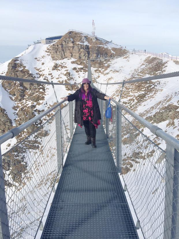 Andrea Smith braves the 140-metre-long pedestrian bridge.