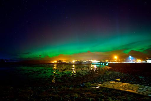 Northern Lights over Malin Town. Photo: Bren Whelan, Wild Atlantic Climbing