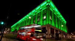 London – Selfridges in London joins Tourism Ireland's Global Greening initiative, to celebrate the island of Ireland and St Patrick. Pic: Anthony Upton