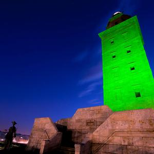 The Tower of Hércules, a UNESCO World Heritage Site in Galicia (Spain), illuminated in green as part of Tourism Ireland's Global Greening initiative, to celebrate the island of Ireland and St Patrick.