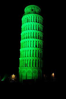 The Leaning Tower of Pisa joins Tourism Ireland's Global Greening initiative, to celebrate the island of Ireland and St Patrick.