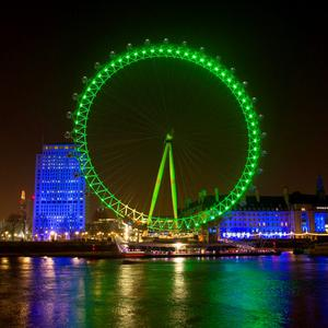 The London Eye joins Tourism Ireland's Global Greening initiative, to celebrate the island of Ireland and St Patrick. Pic – Gretel Ensignia/PA Wire