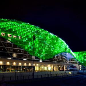 The Yas Viceroy hotel on Yas Island, Abu Dhabi, joins Tourism Ireland's Global Greening initiative, to celebrate the island of Ireland and St Patrick.