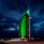 Burj al Arab hotel, Dubai, joins Tourism Ireland's Global Greening, to celebrate the island of Ireland and St Patrick.