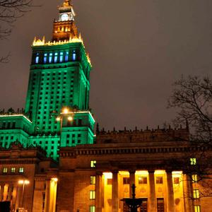 The Palace of Culture and Science in Warsaw joins Tourism Ireland's Global Greening initiative, to celebrate the island of Ireland and St Patrick.