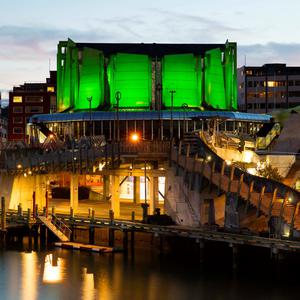 The Michael Fowler Centre in Wellington, New Zealand, joins Tourism Ireland's Global Greening initiative, to celebrate the island of Ireland and St Patrick. Pic – Neil Price