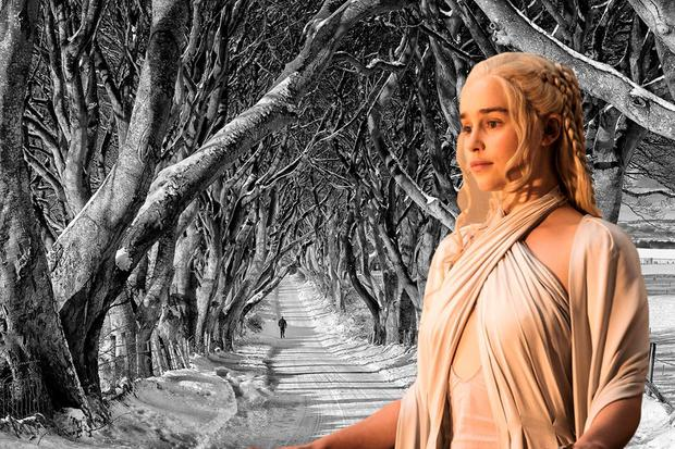 Composite Image: Emilia Clarke as Daenerys in Game of Thrones, with Northern Ireland's Dark Hedges in the background (image - DiscoverNorthernIreland.com).