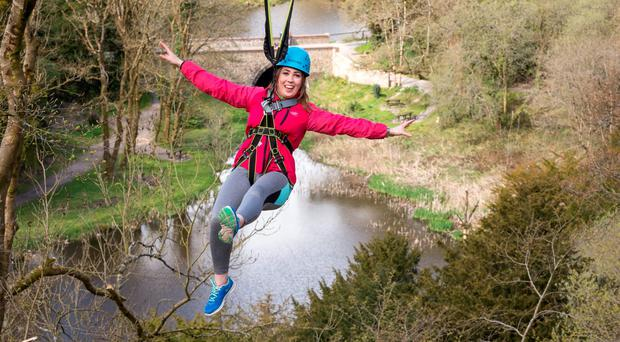 Margaret Nolan from Castlecomer trying the new Zip Line. Picture Dylan Vaughan