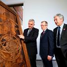 With a new Game of Thrones door are Northern Ireland's Enterprise, Trade and Investment Minister Jonathan Bell; Niall Gibbons, CEO of Tourism Ireland; and John McGrillen, CEO of Tourism NI. Photo: William Cherry/Presseye (no repro fee)