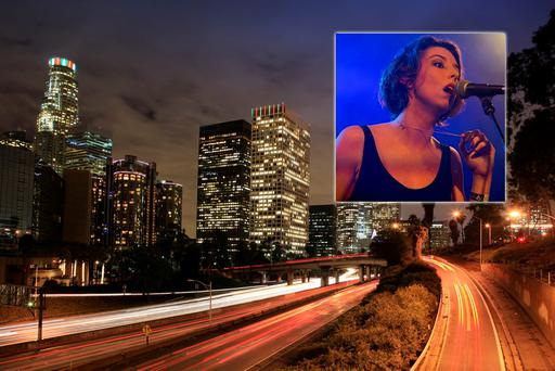 Downtown Los Angeles, with Faye O'Rourke (inset) of Little Green Cars. LA Photo: Deposit