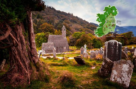 Composite Image: Glendalough, Co. Wicklow (Photo: Getty) with map of Ireland's Ancient East (inset, courtesy Fáilte Ireland).