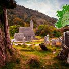 Compoosite Image: Glendalough, Co. Wicklow (Photo: Getty) with map of Ireland's Ancient East (inset, courtesy Fáilte Ireland).