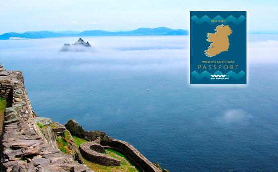 Wild Atlantic Way passport (inset) with the SKellig Islands. Image: Fáílte Ireland.
