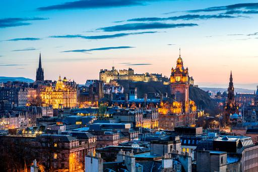Edinburgh at sunset. Photo: Deposit