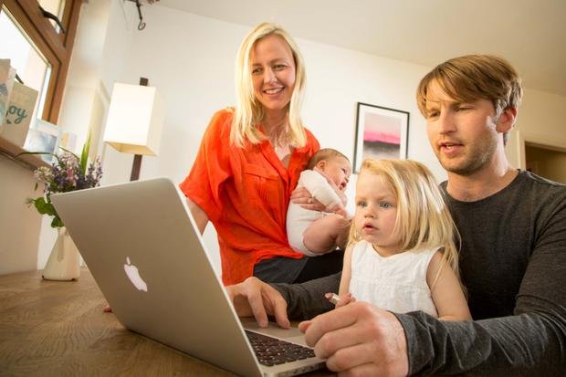 Luke Saunders English teacher and founder of Studyclix.ie, at home with his wife Vanessa and children Eden (2) and Christian (7 weeks) in Strandhill, Co. Sligo. Photo: James Connolly