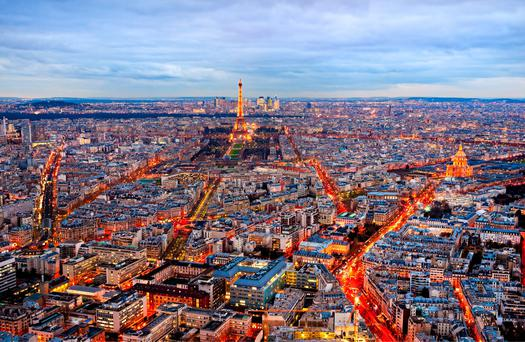 Aerial view of Paris at night, France. Photo: Deposit