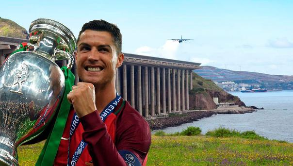 Cristiano Ronaldo Airport, Madeira. Composite image using Funchal Airport (Deposit) and Ronaldo after Portugal's Euro 2016 victory (Getty).