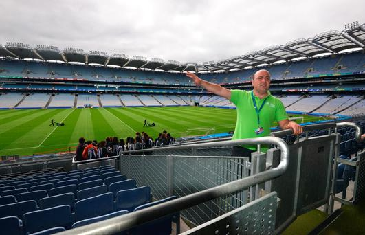 Cian Nolan guiding a stadium tour at Croke Park