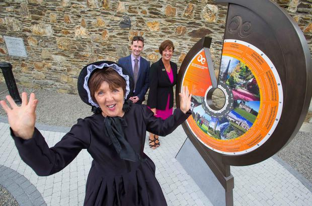 Pictured at Ireland's Ancient East Orientation Sign at Wicklow Gaol are Fáilte Ireland's Ruairi Deane, Programme Manager Ireland Ancient East and Jenny De Saulles, Head of Ireland's Ancient with Mary Morris, Matron of the Gaol. Picture: Patrick Browne.
