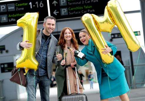 Ciarán Foy and Olwen Kelleghan became Aer Lingus' one millionth transatlantic passengers. Photo: Maxwells