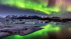 Northern Lights over Jokulsarlon, Iceland.