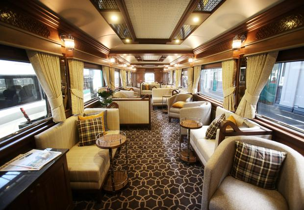 The lounge on board the Belmond Grand Hibernian, pictured after it arrived into Heuston Station. Photo: Leon Farrell/Photocall Ireland.