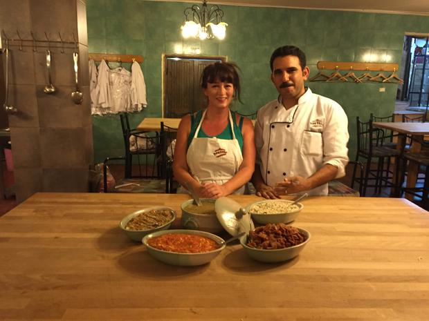 Aine O'Connor doing a cookery class in Petra Kitchen with chef Tariq