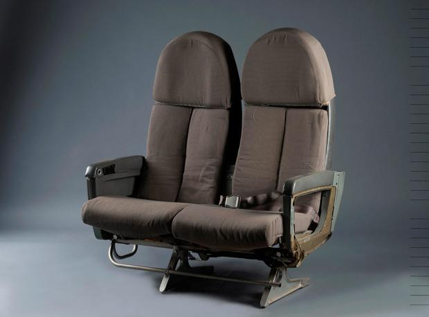 Pair of seats designed by French designer Andree Putman in 1993, missing central armrest and one seatbelt. Photo: MarkLabarbe.com