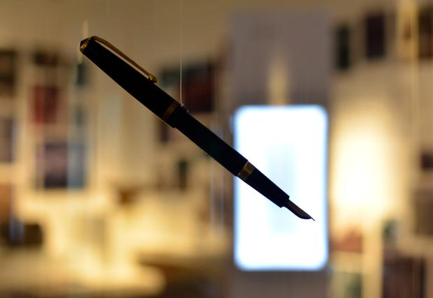A fountain pen exhibited in Seamus Heaney HomePlace. Photo: Pól Ó Conghaile