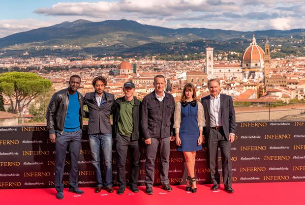 FLORENCE, ITALY: Tom Hanks, Felicity Jone, Dan Brown and others attend the INFERNO Photo Call at Forte di Belvedere in Florence, Italy. Photo by Christopher Polk/Getty Images for Sony Pictures Entertainment
