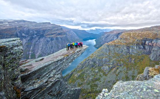 Trolltunga, the famous landmark in Norway. It takes a five-hour hike in the mountains of Hardanger, to reach.