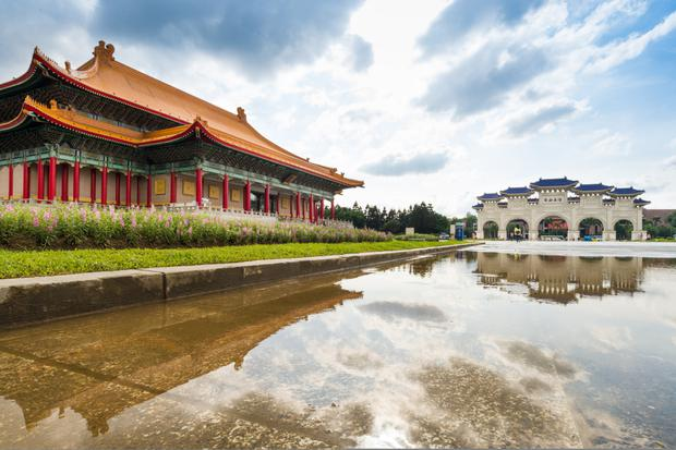 Peaceful scene at the National Chiang Kai-shek Memorial Hall in Taipei