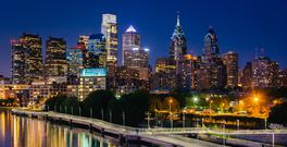 City of lights: Philadelphia skyline and the Schuylkill River at night