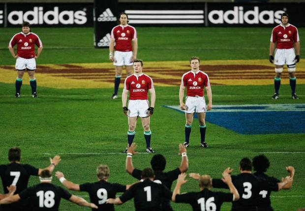 Brian O'Driscoll and team-mates face the All Blacks Haka at the Jade Stadium on June 25, 2005 in Christchurch, New Zealand. Photo by Shaun Botterill/Getty Images
