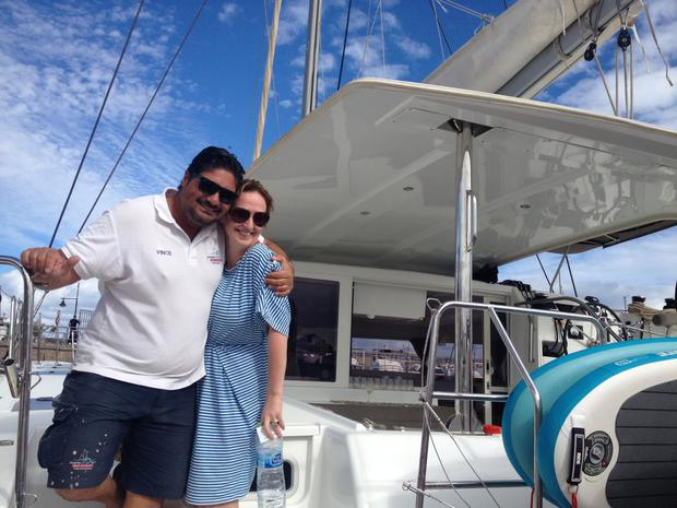 Vince of FuerteCharter with Gemma after a catamaran trip to the Isle of Lobos