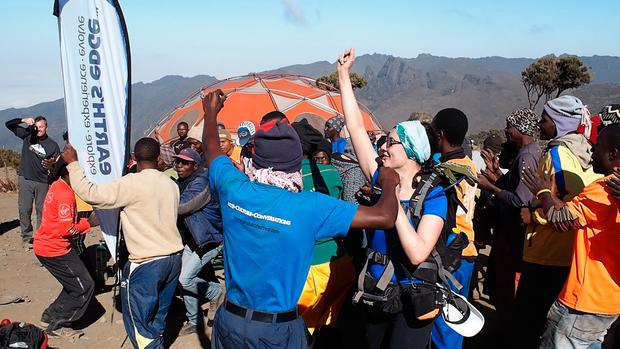 Song and dance on the Kilimanjaro climb. Photo: Kelly Donegan