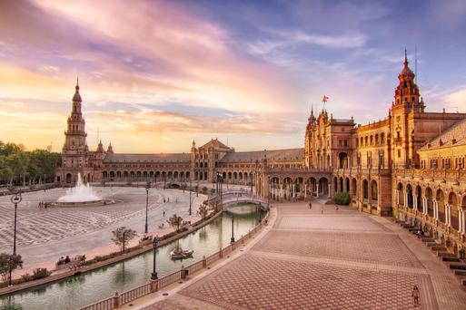 The Plaza de Espana in Seville, where scenes from Laurence of Arabia and Star Wars - Attack of the Clones were filmed