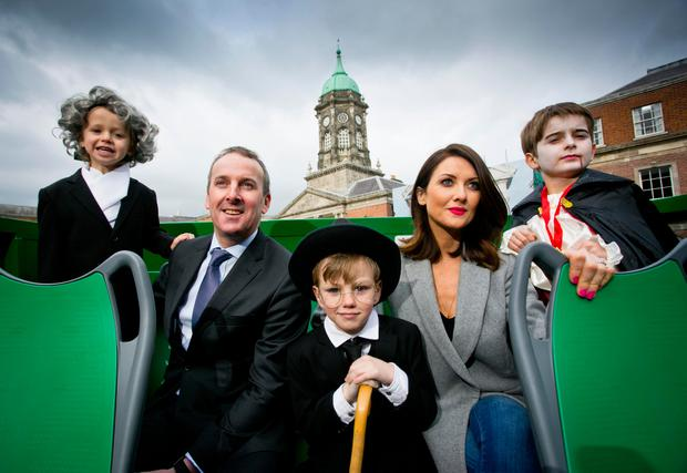 Jennifer Zamparelli (Maguire), Ray Coyne, CEO of Dublin Bus and a host of famous Dublin characters launch the DoDublin rebrand. Photo Chris Bellew / Fennell Photography
