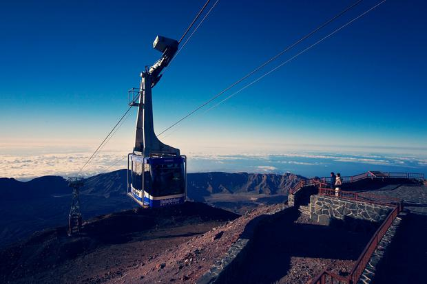 A cable car climbing to the summit of Mount Teide. PA Photo/Tenerife Tourism Corporation/Alfonso Bravo.
